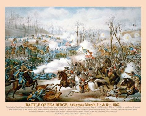 Fine art print of the American Civil War of the Battle of Pea Ridge March 7th and 8th 1862
